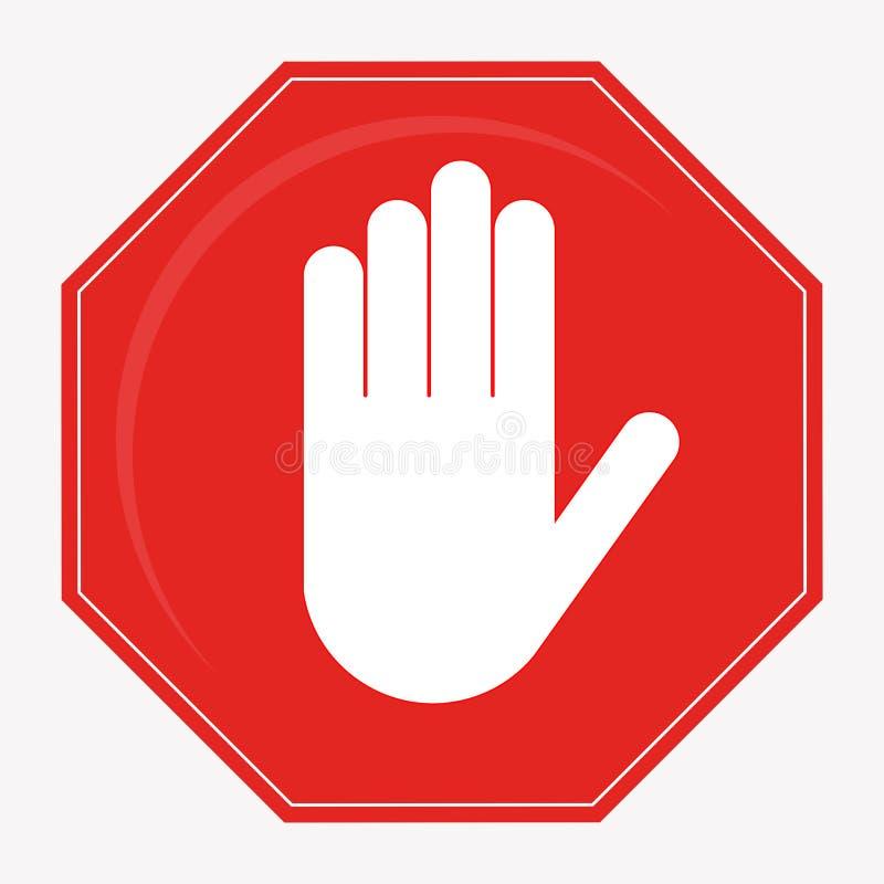 Czerwona przerwa znaka ręki przerwa royalty ilustracja