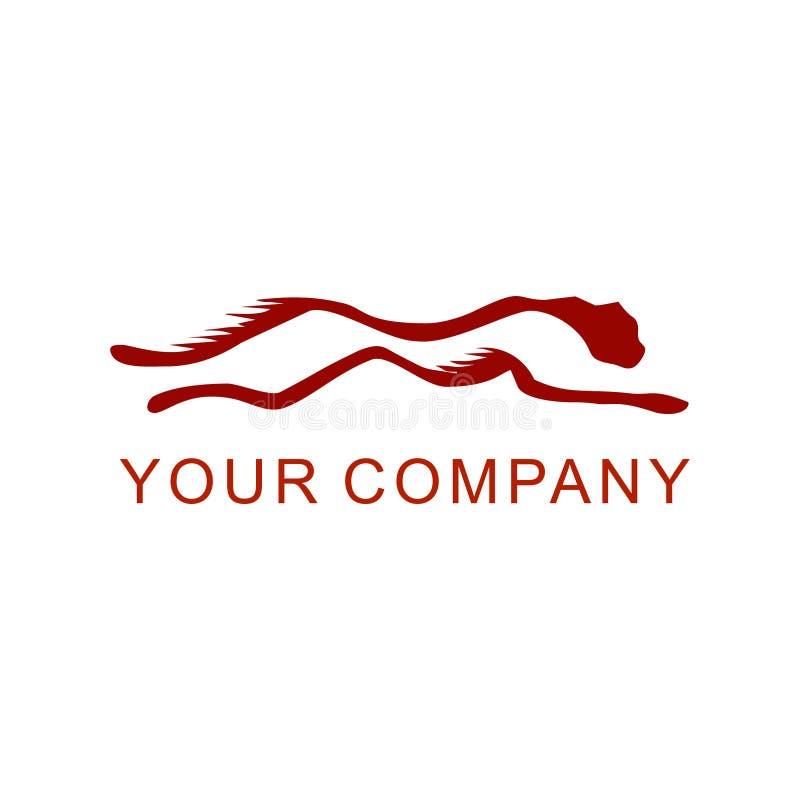 Czerwona puma skacze prędkość loga wektor ilustracji