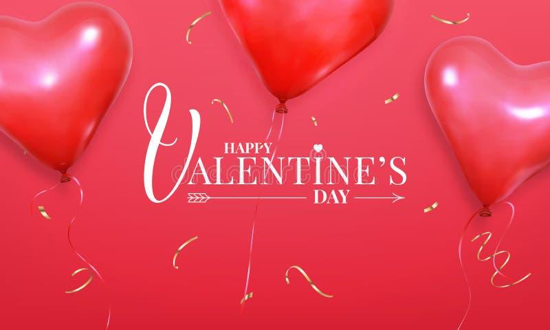 czerwona róża Sztandar z realistycznego kierowego kształta helu czerwonymi balonami i złocistymi confetti Walentynka wakacyjny pr ilustracja wektor