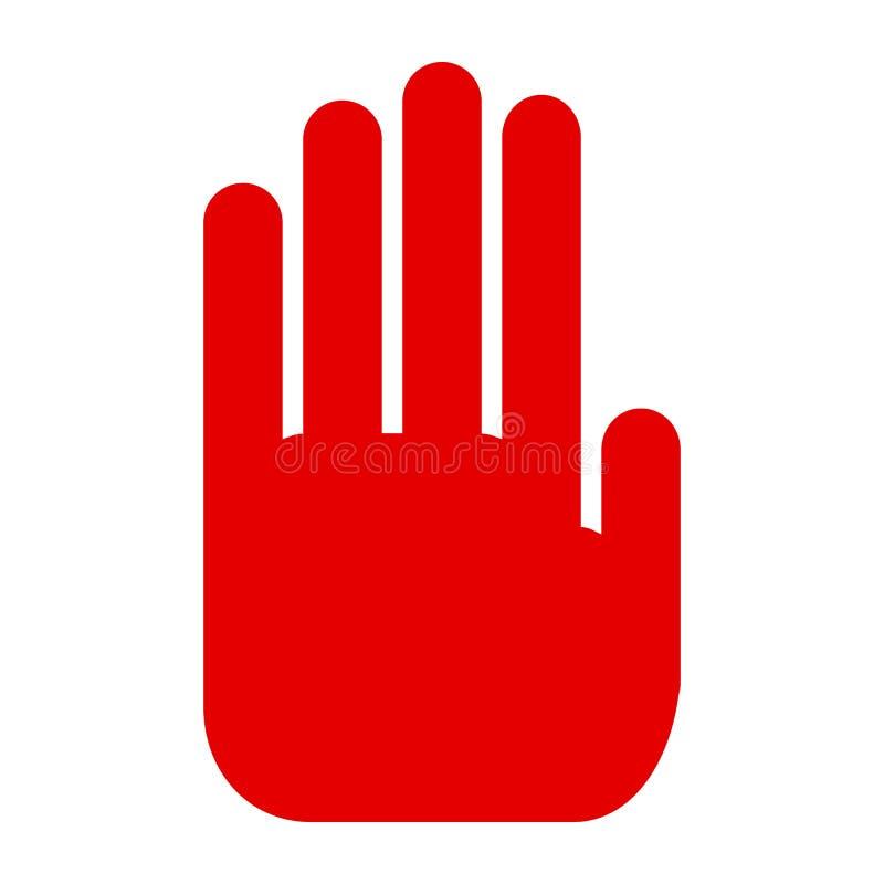 Czerwona ręka, przerwy szyldowa ikona - wektor ilustracja wektor