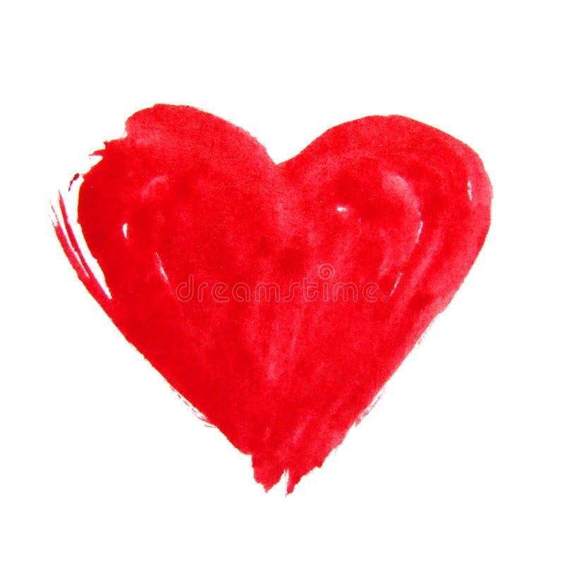 Czerwona ręka rysujący akwareli serce zdjęcia royalty free