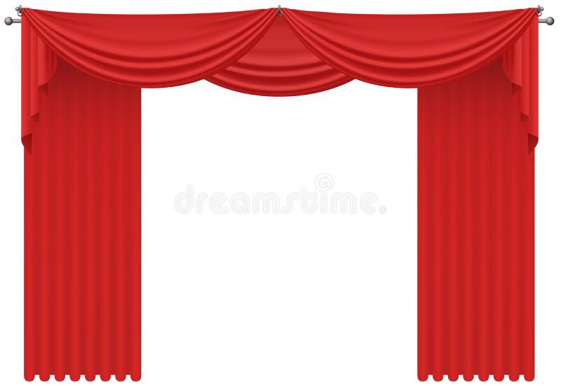 Czerwona realistyczna jedwabnicza wektorowa zasłony draperia odizolowywająca ilustracja wektor
