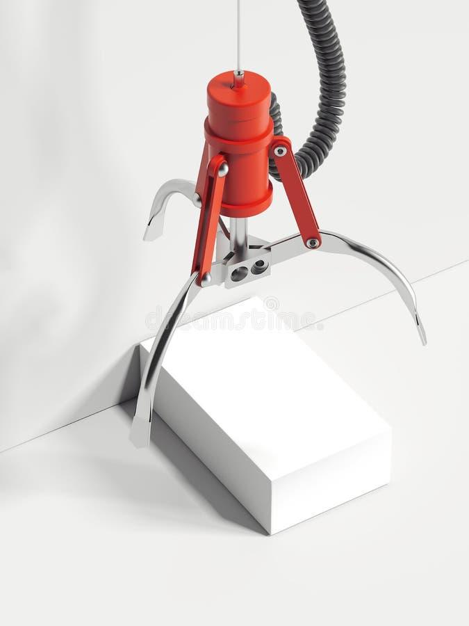 Czerwona realistyczna pazur maszyna bierze białego pudełko, 3d rendering royalty ilustracja