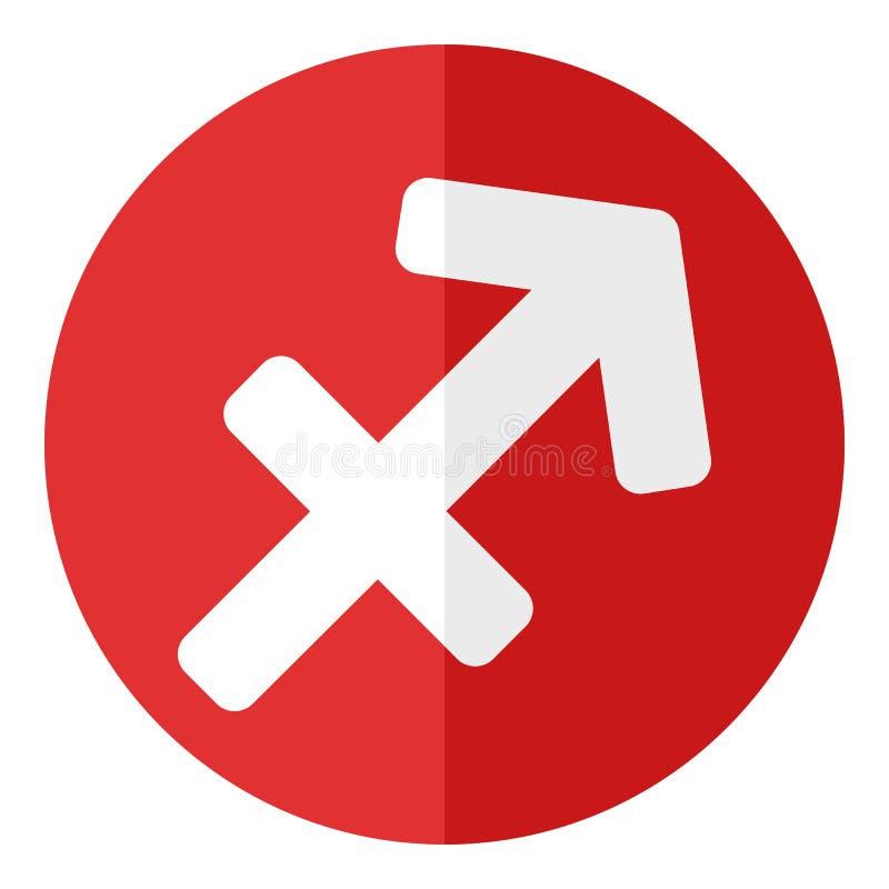 Czerwona Sagittarius zodiaka znaka mieszkania ikona ilustracja wektor