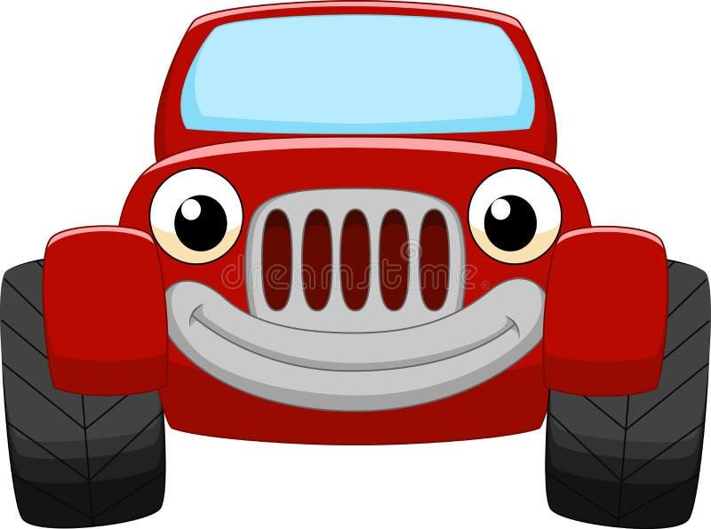 Czerwona samochodowa kreskówka ilustracja wektor