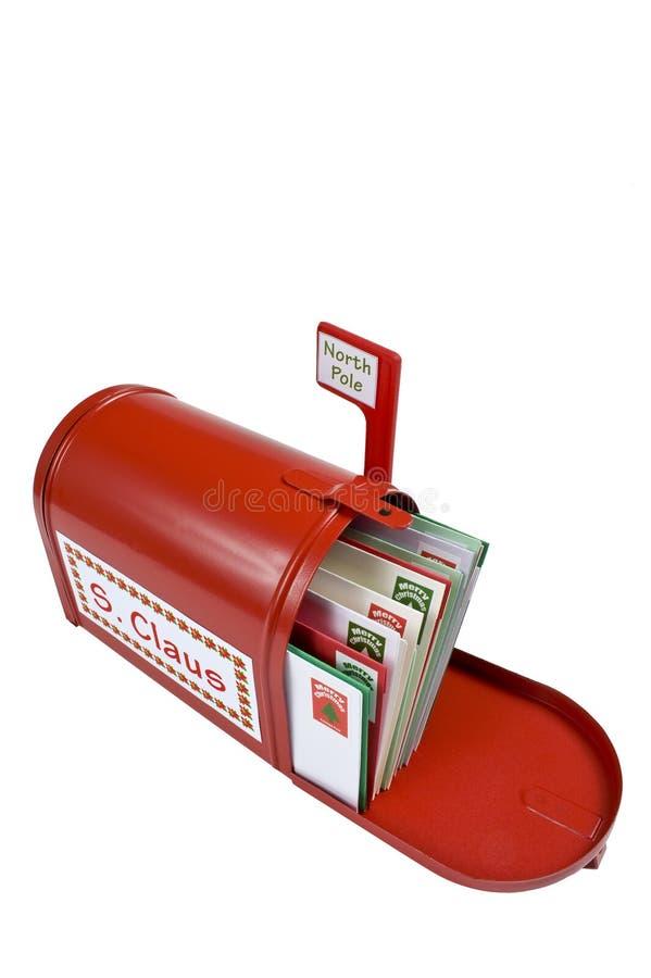 Czerwona Santa biegunu północnego skrzynka pocztowa zdjęcia stock