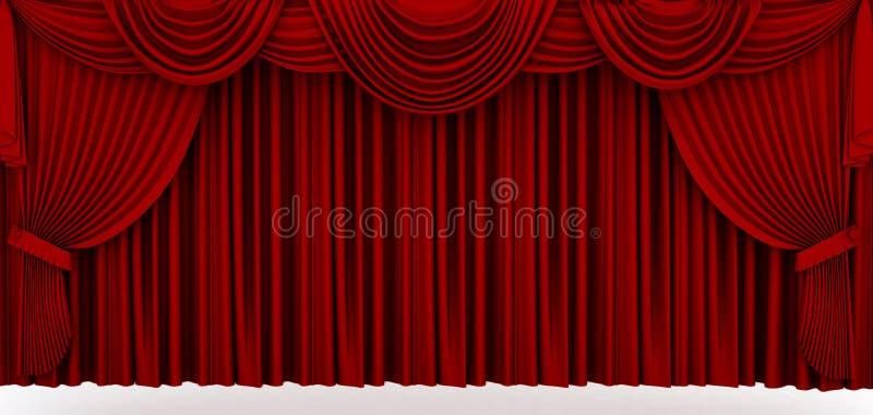 Czerwona sceny draperia ilustracja wektor
