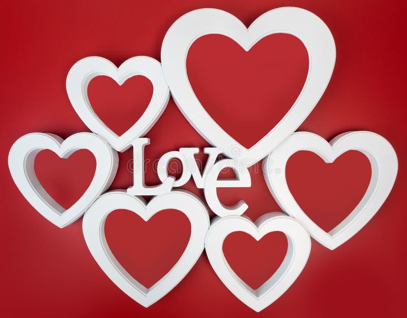 Czerwona serce fotografii rama, stoi prosto na isolaed białym tle obraz stock