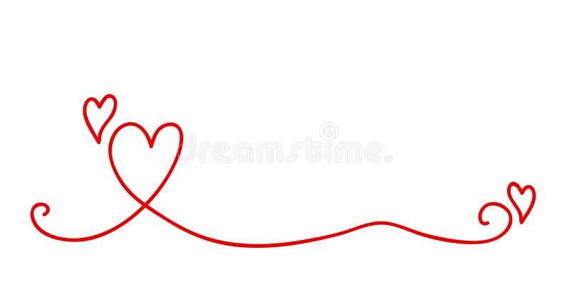 Czerwona serce granica dla valentines dnia i poślubiać projekta ilustracji