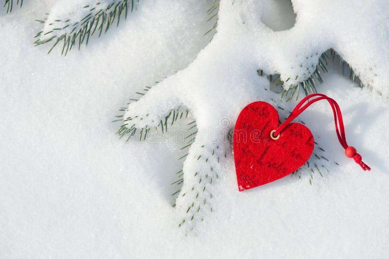 Czerwona serce zabawka w śniegu na jodle obraz stock