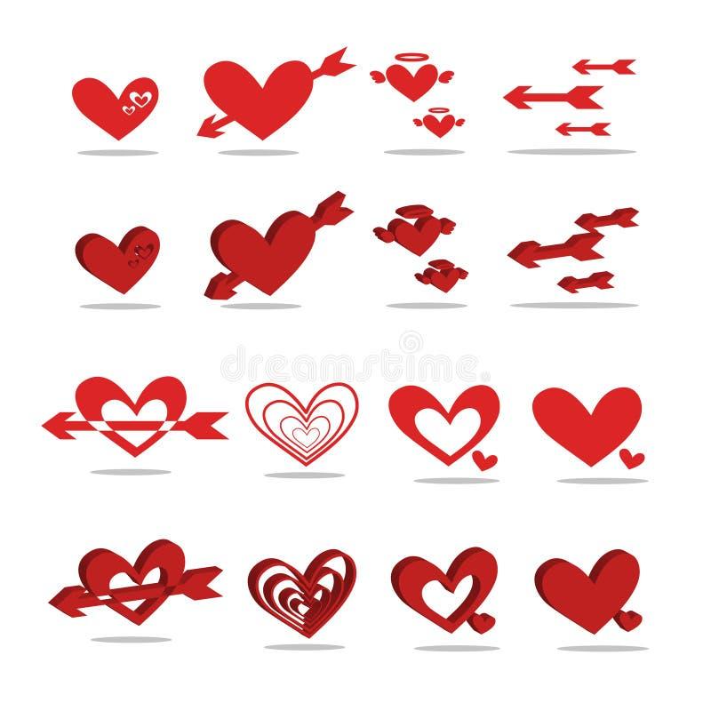 Czerwona sercowata ikona 2D - 3D obraz stock