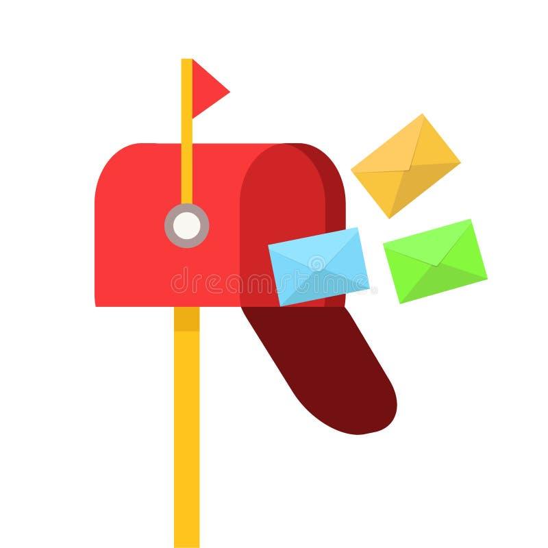 Czerwona skrzynka pocztowa z kolorem odkrywa latanie na bielu, akcyjna wektorowa ilustracja ilustracja wektor