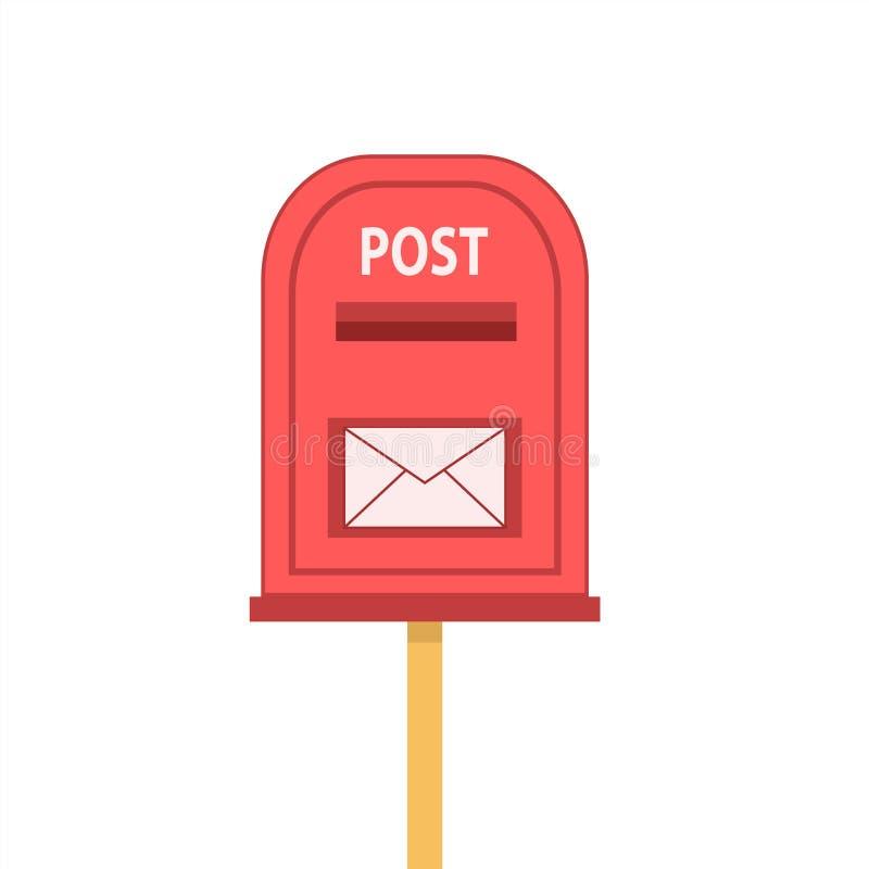 Czerwona skrzynka pocztowa z odkrywa na bielu, akcyjna wektorowa ilustracja ilustracji