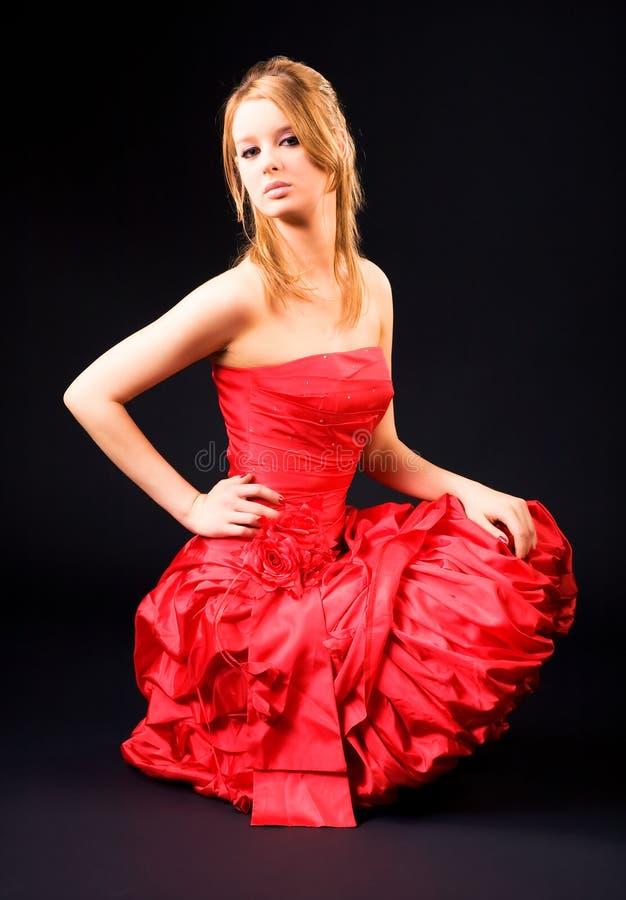 czerwona smokingowa kobieta obraz royalty free