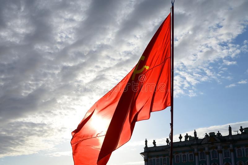 Czerwona sowieci flaga fotografia stock