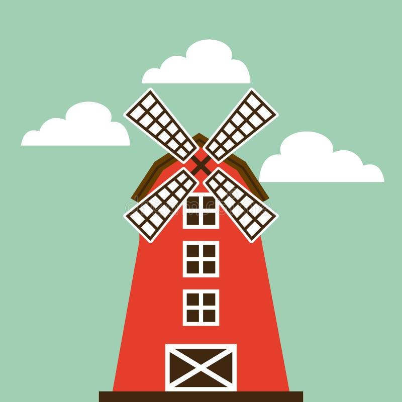 czerwona stajni ikona ilustracja wektor
