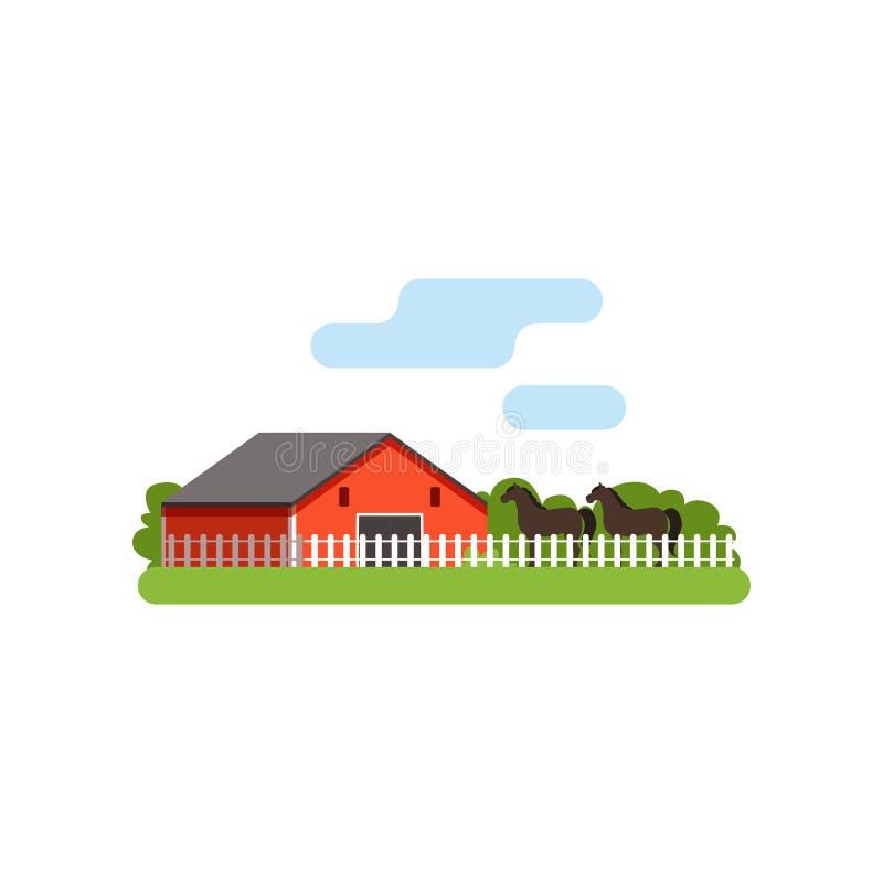 Czerwona stajnia, koń w corral na gospodarstwie rolnym, wiejska krajobrazowa wektorowa ilustracja royalty ilustracja