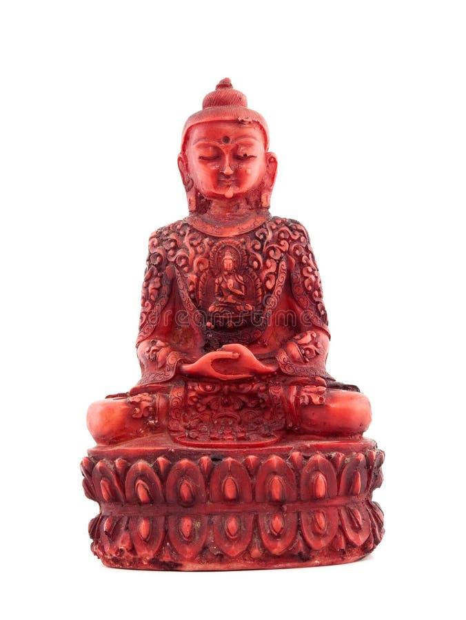 Czerwona statua budha przód fotografia stock