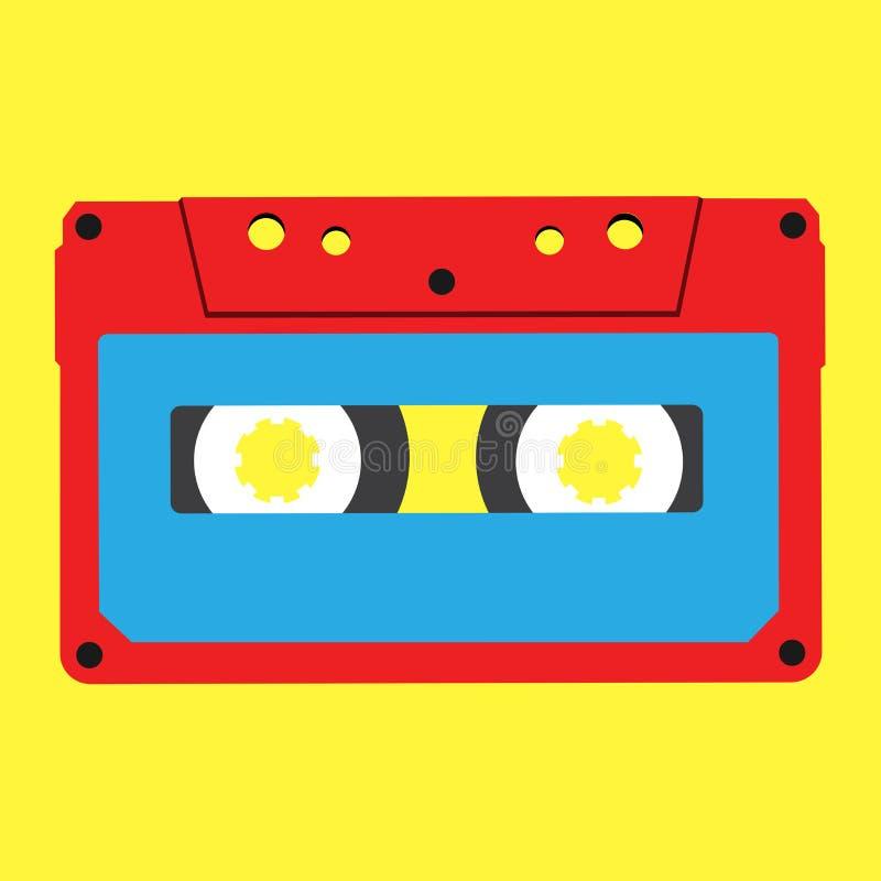Czerwona stereo ścisła kaseta na żółtym tle ilustracja wektor