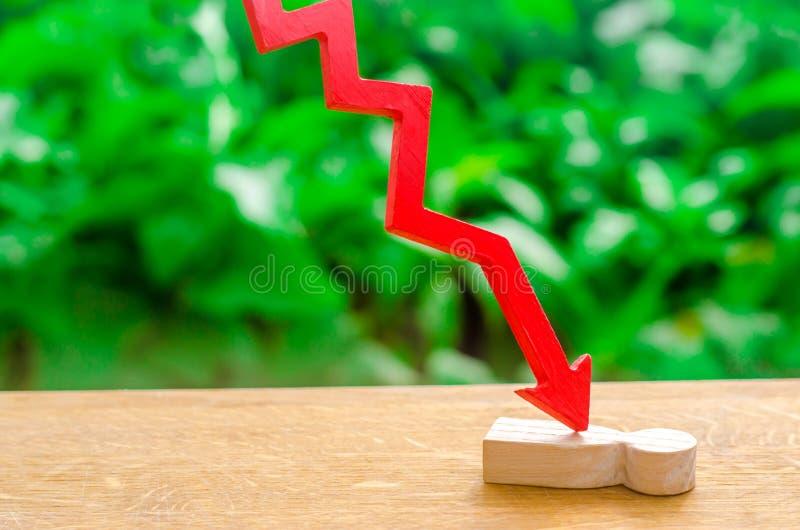 Czerwona strzała cleaves osoby Ofiara kryzys gospodarczy, spada ceduły i zawalenie się rynek, Podatny na obrazy stock