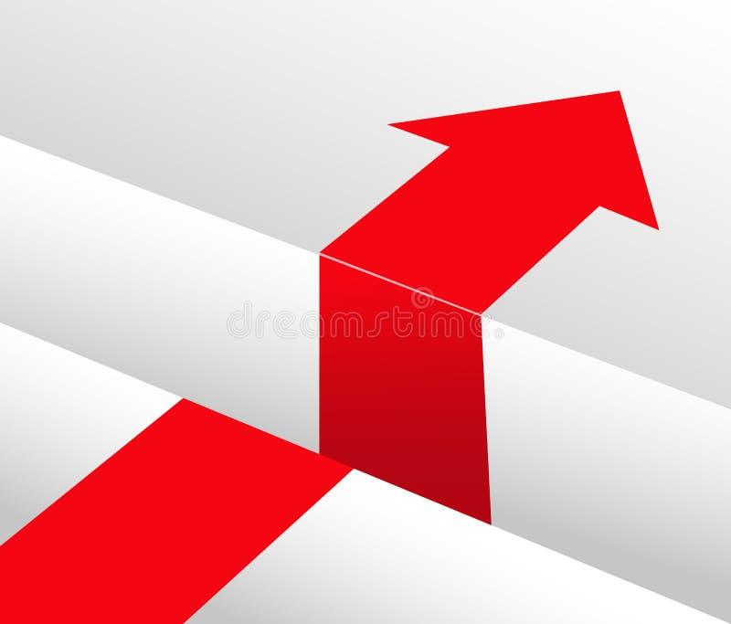 Czerwona strzała i przeszkody obwodnica ilustracja wektor