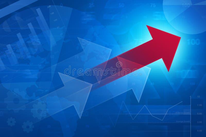 Czerwona strzała na pieniężnym wykresie i mapie, sukcesu biznes, Elemen ilustracji