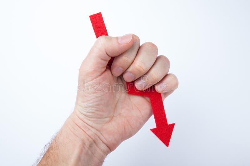 Czerwona strzała w ręce, pojęcie niepowodzenie zdjęcia royalty free