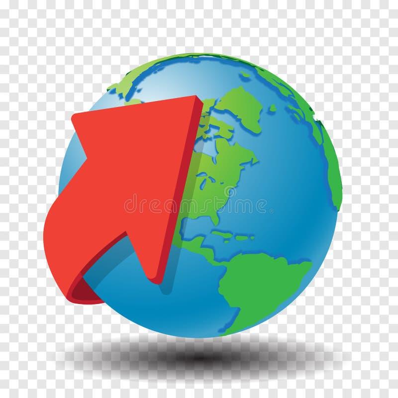 Czerwona strzała wokoło kula ziemska wektoru ilustraci ilustracja wektor