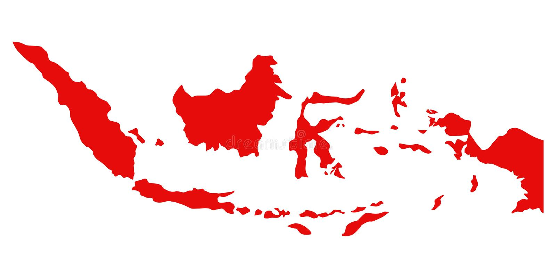 Czerwona sylwetka Indonesia mapa ilustracji