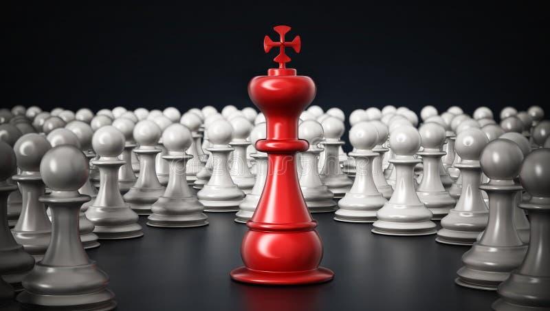 Czerwona szachowa królewiątko pozycja wśród białych pionków ilustracja 3 d royalty ilustracja