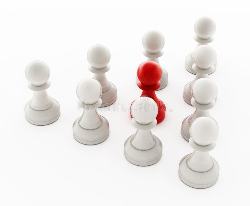 Czerwona szachowa zastawnicza pozycja naprzeciw białych pionków ilustracja 3 d ilustracji