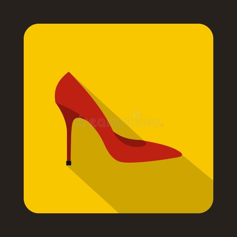 Czerwona szpilki buta ikona, mieszkanie styl ilustracja wektor