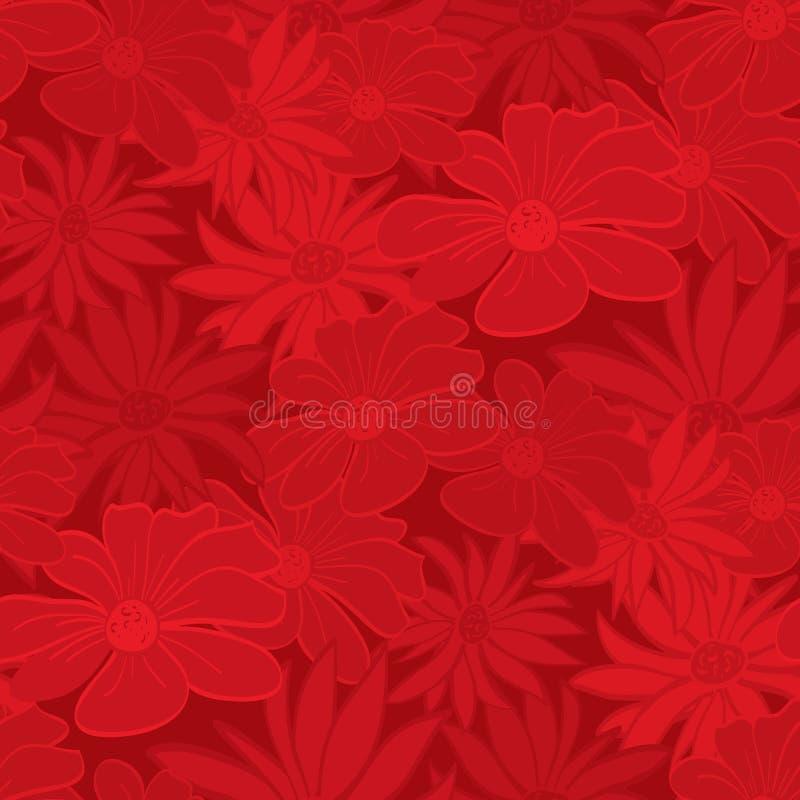 czerwona tapeta bezszwowa kwiecista ilustracji