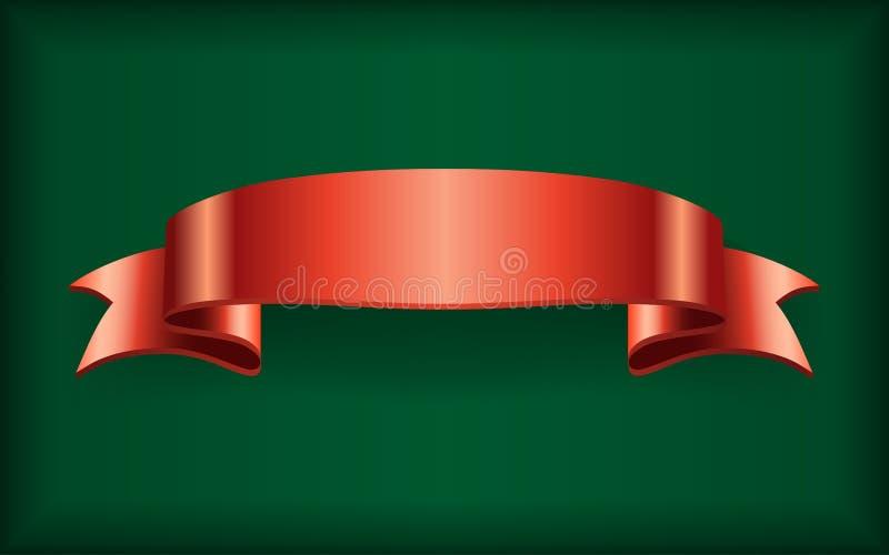 Czerwona tasiemkowa atłasowa łęku sztandaru zieleń ilustracji