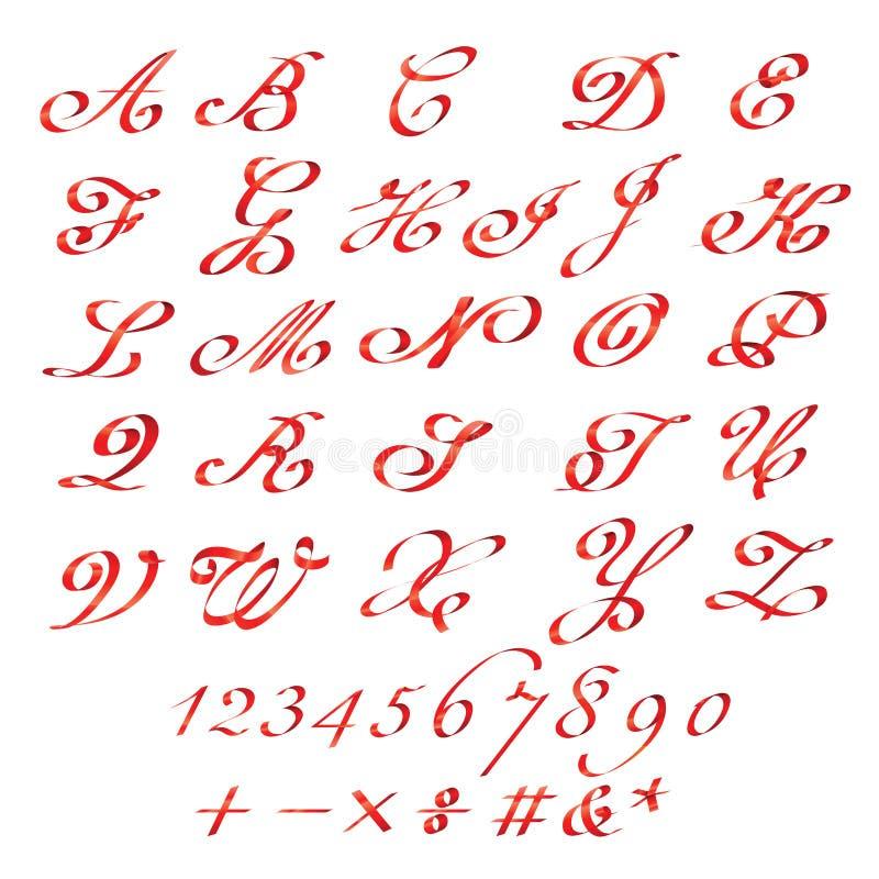 Czerwona tasiemkowa chrzcielnica i liczby ustawiający royalty ilustracja