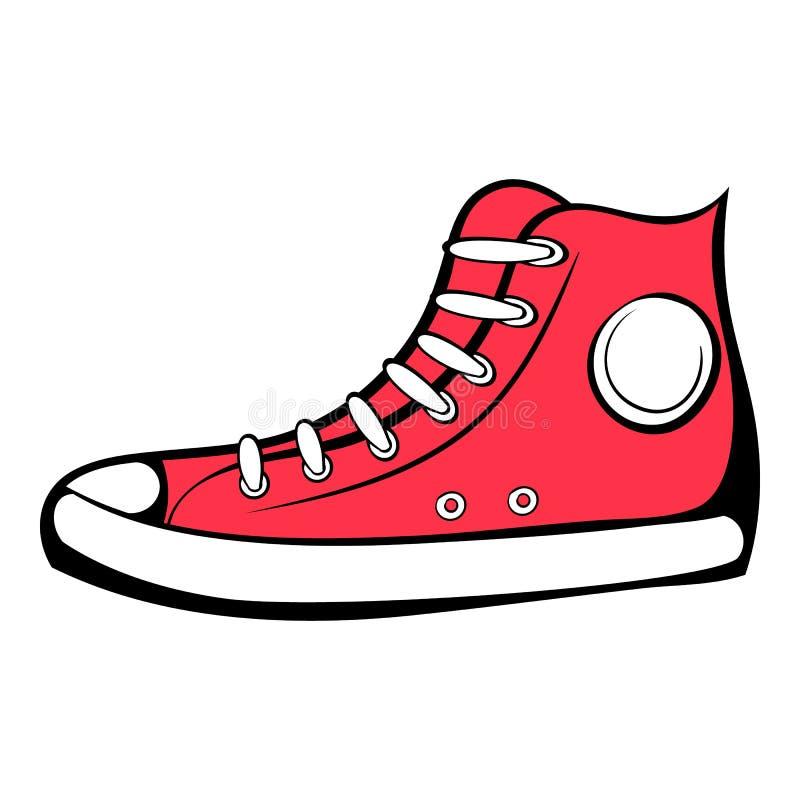 Czerwona tenisówka ikony kreskówka ilustracji