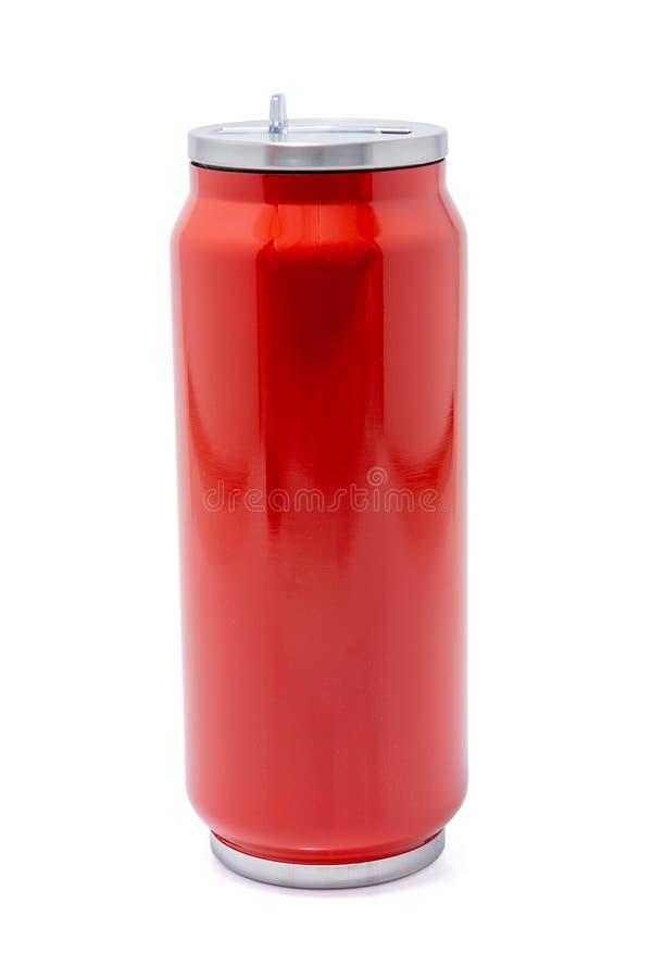 Czerwona termos butelka lub stal nierdzewna termosy podróżujemy tumbler obrazy stock