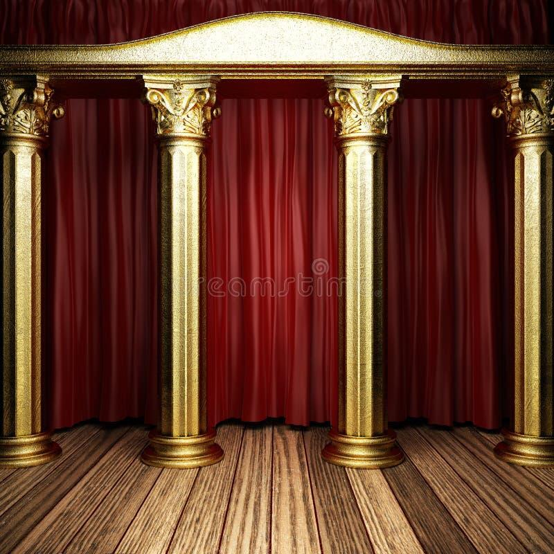 Czerwona tkaniny zasłona na scenie ilustracji