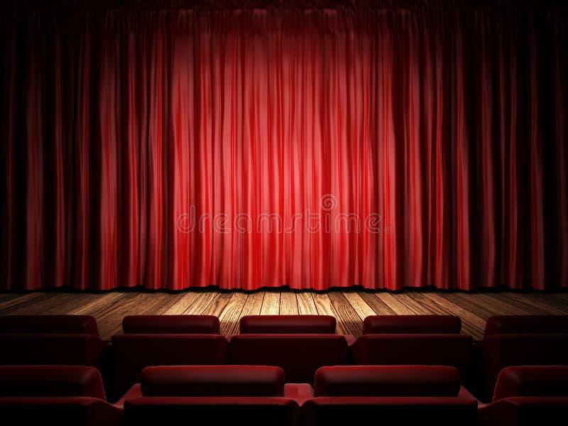 Czerwona tkaniny zasłona na scenie royalty ilustracja