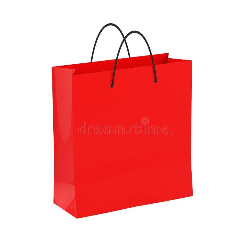 Czerwona torba na zakupy, mocap dla projekta, odizolowywający na białym tle 3 d czynią ilustracja wektor