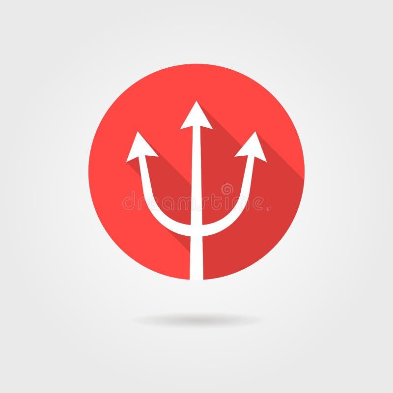Czerwona trójząb ikona z długim cieniem royalty ilustracja