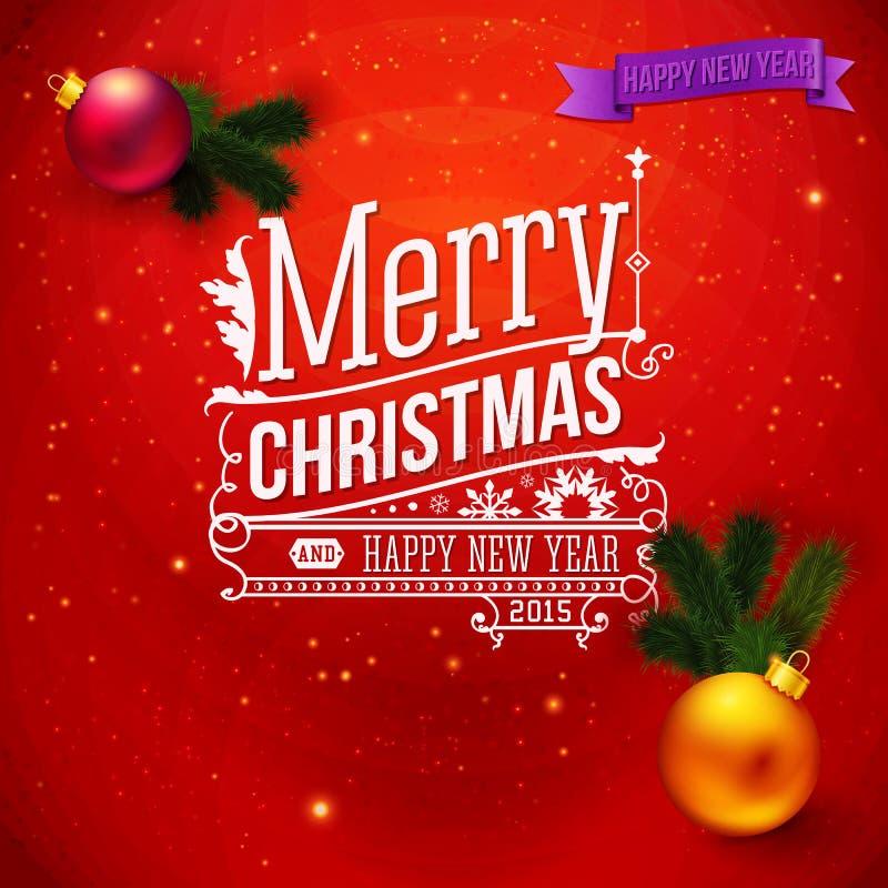 Czerwona tradycyjna kartka bożonarodzeniowa ilustracja wektor