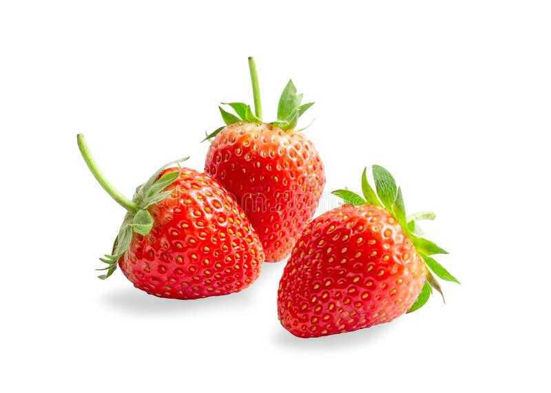 Czerwona truskawka jest ?wie?ym jagodowym owoc odizolowywaj?cym na bia?ym tle, di ci?cy z ?cinek ?cie?k? obrazy stock