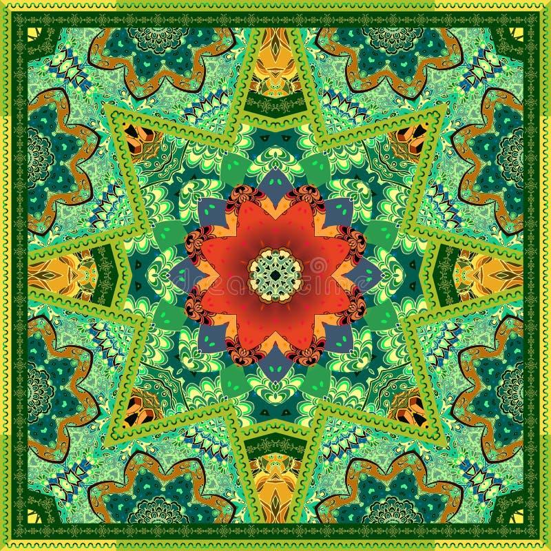 Czerwona tulipanowa kolekcja Dywanu lub bandana druku zieleni ornamentacyjny wz ilustracja wektor