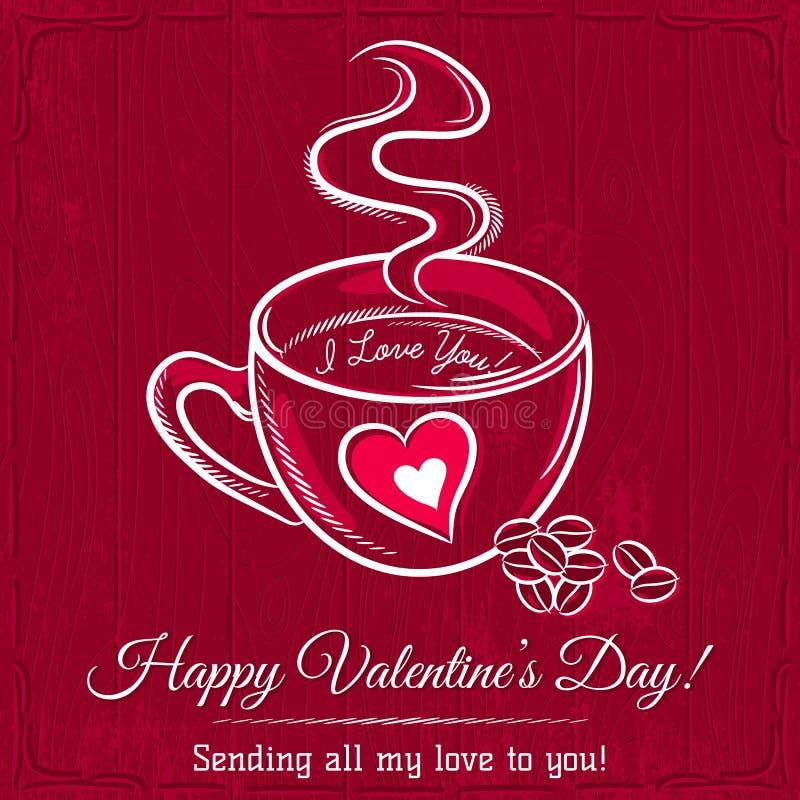 Czerwona valentine karta z filiżanką gorący napój royalty ilustracja
