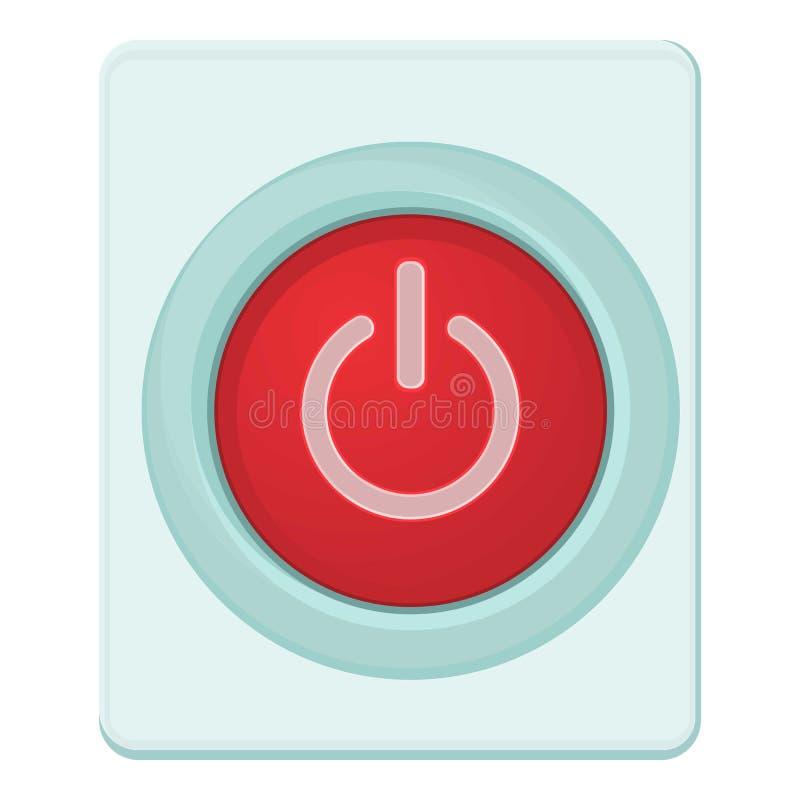 Czerwona władza na guzik ikonie lub z, kreskówka styl ilustracja wektor