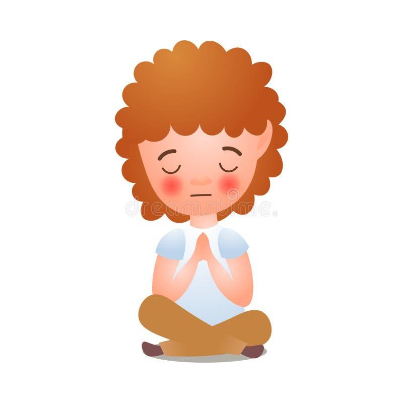 Czerwona włosiana dziewczyna chrześcijaństwo religii oferty modlitwa ilustracji