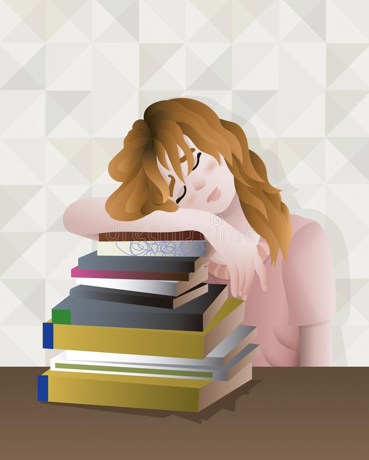 Czerwona włosiana dziewczyna wyczerpywał i satured studiujący mnóstwo książki ilustracja wektor