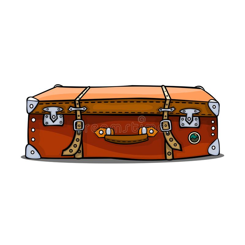 Czerwona walizka z rzemiennymi klamrami Projekt podróży torby odizolowywa ilustracji