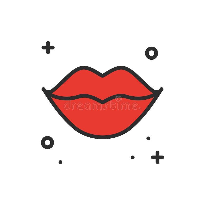 Czerwona warga buziaka linii ikona Kobiet warg konturu symbol i znak Miłości związku tatuażu romantyczny temat Żeński warga druk royalty ilustracja